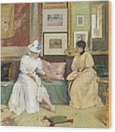 A Friendly Call Wood Print by William Merritt Chase