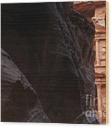 A Glimpse Of Al Khazneh From The Siq In Petra Jordan Wood Print