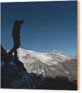 A Man Hikes The Boott Spur Link Wood Print