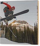 A Man Jumping On His Skis, San Juan Wood Print