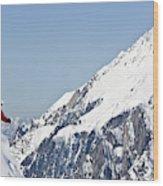 A Man Skis Untracked Powder Off-piste Wood Print