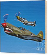 A P-40e Warhawk And A P-51d Mustang Wood Print