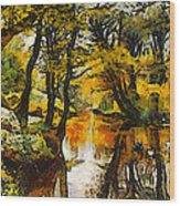 A River Landscape In Springtime Wood Print