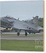 A Saab Jas 39 Gripen C Of The Royal Wood Print