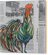 A Well Read Rooster Wood Print