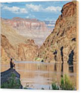 A Woman Sits By The Colorado River Wood Print