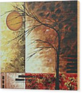 Abstract Gold Textured Landscape Painting By Madart Wood Print