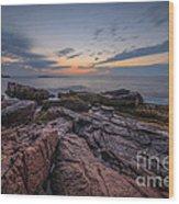 Acadia Rocky Sunrise Wood Print