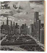 Aerial Chicago At Millennium Park Wood Print