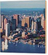 Aerial Morning View Of Boston Skyline Wood Print