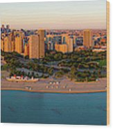 Aerial View Of North Avenue Beach Wood Print