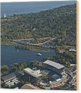 Aerial View Of The New Husky Stadium Wood Print