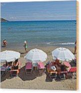 Agia Marina Beach Wood Print