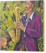 All That Jazz, Saxophone Wood Print