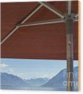 Alpine Lake With Parasol Wood Print