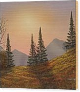 Alpine Sunset Wood Print