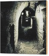 Altered Image Of A Tunnel In The Catacombs Of Paris France Wood Print