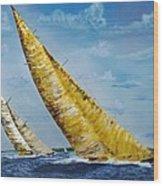 Americas Cup Sailboat Race Wood Print