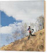 An Adult Male Trail Running Wood Print