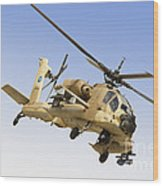 An Ah-64a Peten Attack Helicopter Wood Print