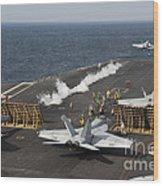 An Fa-18 Hornet Launches Wood Print