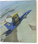 An Fa-18 Hornet Of The Blue Angels Wood Print