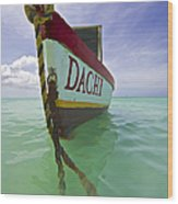 Anchored Colorful Fishing Boat Of Aruba II Wood Print