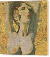 Aphrodite And Cyprus Map Wood Print