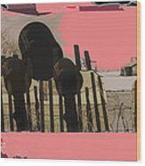 Art Homage Andrew Wyeth Bucket Fence Collage Near Aberdeen South Dakota 1965-2012 Wood Print