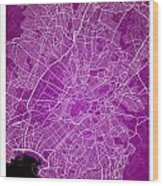 Athens Street Map - Athens Greece Road Map Art On Color Wood Print