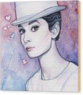 Audrey Hepburn Fashion Watercolor Wood Print