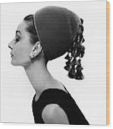 Audrey Hepburn Wearing A Givenchy Hat Wood Print