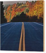 Autumn Colors And Road  Wood Print