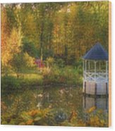 Autumn Gazebo Wood Print by Joann Vitali