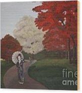 Autumn Geisha Wood Print