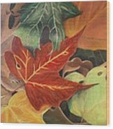 Autumn Leaves In Layers Wood Print