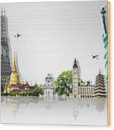 Background Travel Concept  Wood Print