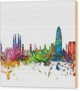 Barcelona Spain Skyline Wood Print