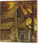 Barn and Wheelbarrow Wood Print