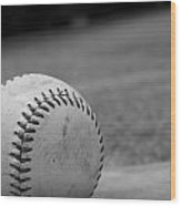 Baseball Wood Print by Kelly Hazel