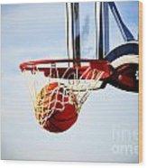 Basketball Shot Wood Print by Lane Erickson