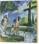 Bathers By Cezanne Wood Print