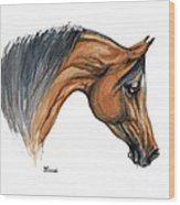 Bay Arabian Horse Watercolor Painting  Wood Print