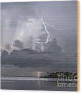 Bay Street Lightning Wood Print