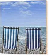 Beach Chairs Wood Print by Joana Kruse
