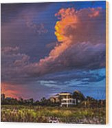 Beach Front Rain Wood Print by Marvin Spates