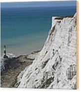 Beachy Head Cliffs And Lighthouse  Wood Print