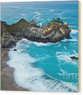 Beautiful Mcway Falls Along The Big Sur Coast. Wood Print
