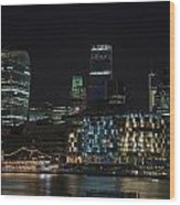 Beautiful Night City Skyline Landscape Image Of City Of London Wood Print
