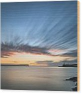 Beautiful Vibrant Sunrise Sky Over Calm Water Ocean With Lightho Wood Print
